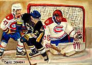 Hockey Painting Prints - Halak Catches The Puck Stanley Cup Playoffs 2010 Print by Carole Spandau