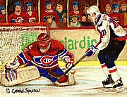 Hockey Sweaters Painting Framed Prints - Halak Makes Another Save Framed Print by Carole Spandau