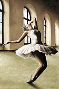 White Dress Framed Prints - Halcyon Ballerina Framed Print by Richard Young