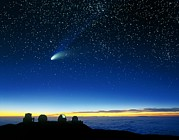 Comet Hale-bopp Photos - Hale-bopp Comet And Telescope Domes by David Nunuk