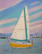 Sailboat Ocean Pastels Framed Prints - Hale Pau Hana Framed Print by Rae  Smith PSC
