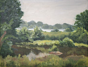 Pond In Park Painting Prints - Haley Farm Pond Print by Elena Liachenko