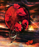 Red Flowers Art - Half a Dozen by Paul St George