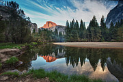 Tranquil Scene Framed Prints - Half Dome And  Merced Framed Print by Mimi Ditchie Photography