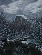 Half Dome Painting Prints - Half Dome Black and White  Print by Travis Day
