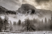 Wintry Photo Posters - Half Dome In Winter Poster by Connie Cooper-Edwards