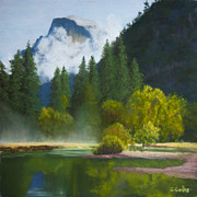 Misty. Pastels Posters - Half Dome Mist Poster by James Geddes
