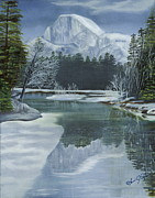 Half Dome Painting Prints - Half Dome Reflections Print by Lana Tyler