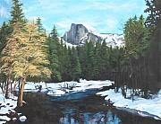 Half Dome Painting Prints - Half Dome snow Print by Travis Day