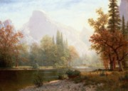 Shoreline Painting Posters - Half Dome Yosemite Poster by Albert Bierstadt