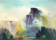 Half Dome Painting Prints - Half Dome Yosemite Print by Maryann Schigur