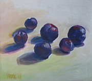 Wayne Thiebaud Framed Prints - Half Dozen Plums Framed Print by Vanessa Hadady BFA MA