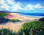 Lupines Paintings - Half Moon Bay in Bloom by Laura Iverson