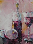 Wine Bottle Paintings - Half Savored by John Henne