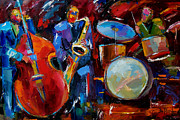 Jazz Painting Prints - Half the Band Print by Debra Hurd