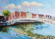 Dublin Painting Originals - Halfpenny Bridge Dublin by Conor McGuire