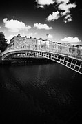 Halfpenny Prints - Halfpenny Hapenny Bridge Over The River Liffey In The Centre Of Dublin City Ireland Print by Joe Fox
