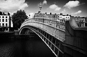 Halfpenny Prints - Halfpenny Hapenny Bridge Over The River Liffey In The Centre Of Dublin Eire Ireland Print by Joe Fox