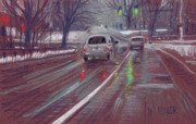 Traffic Pastels Prints - Halfway Home Print by Donald Maier