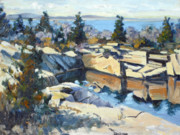 Quarry Paintings - Halibut Point State Park looking north by Chris Coyne