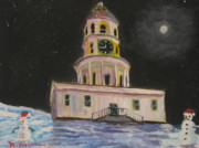 Night Scenes Paintings - Halifax town clock by Marshall Desveaux