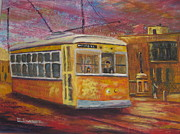 Archives Painting Prints - Halifax Trolley Print by Marshall Desveaux