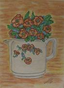 Hall Painting Prints - Hall China Orange Poppy and Poppies Print by Kathy Marrs Chandler