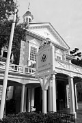 Magic Kingdom Photos - Hall of Presidents Exterior Walt Disney World Prints Black and White by Shawn OBrien