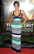 Striped Dress Art - Halle Berry At Arrivals For The Soloist by Everett