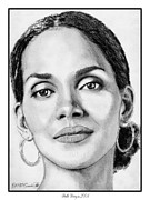 Greyscale Drawings - Halle Berry in 2008 by J McCombie