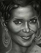 Jeff Stroman Drawings Framed Prints - Halle Berry Framed Print by Jeff Stroman