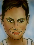 Berry Drawings - Halle Berry by Pete Maier