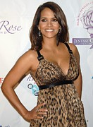 Leopard Print Framed Prints - Halle Berry Wearing A Dolce & Gabbana Framed Print by Everett