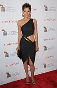 Black Dress Photos - Halle Berry Wearing A Halston Dress by Everett