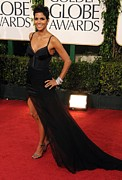 Beverly Hilton Hotel Photo Posters - Halle Berry  Wearing A Nina Ricci Gown Poster by Everett
