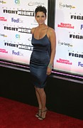 Satin Dress Metal Prints - Halle Berry Wearing A Rachel Roy Dress Metal Print by Everett