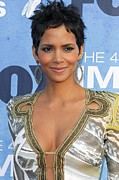 Gold Trim Prints - Halle Berry Wearing An Emilio Pucci Print by Everett