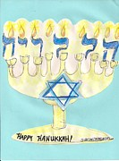 Menorah Mixed Media Prints - Hallelujah Happy Hanukkah Print by Jamey Balester
