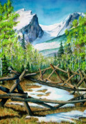 Rockies Paintings - Hallet Peak by Mary Giacomini