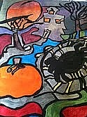Haunted House Paintings - Halloween Abstract by Jennifer Briggs