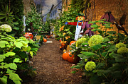 Scarecrow Posters - Halloween Alley Poster by Mary Machare