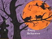 Halloween Cat Fight Print by Jeffrey Koss