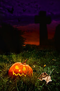 Carved Pumpkin Prints - Halloween Cemetery Print by Christopher and Amanda Elwell