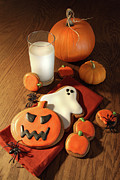 Trick Prints - Halloween cookies with a glass of milk Print by Sandra Cunningham