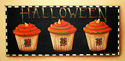 Folk Art Posters - Halloween Cupcakes Poster by Catherine Holman