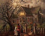 Haunted House Painting Framed Prints - Halloween Dare Framed Print by Tom Shropshire