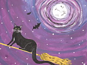 Halloween Paintings - Halloween Flying  Black Cat by Jeffrey Koss