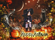 Spooky Card Mixed Media Posters - Halloween Girl Poster by Mo T