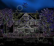 Haunted House Digital Art Metal Prints - Halloween haunt Metal Print by Clara Sue Beym