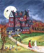 Halloween Haunted Mansion Print by Iva Wilcox